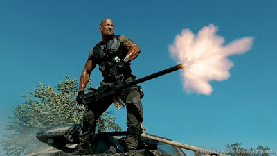 The Rock in action in G.I. JOE: RETALIATION