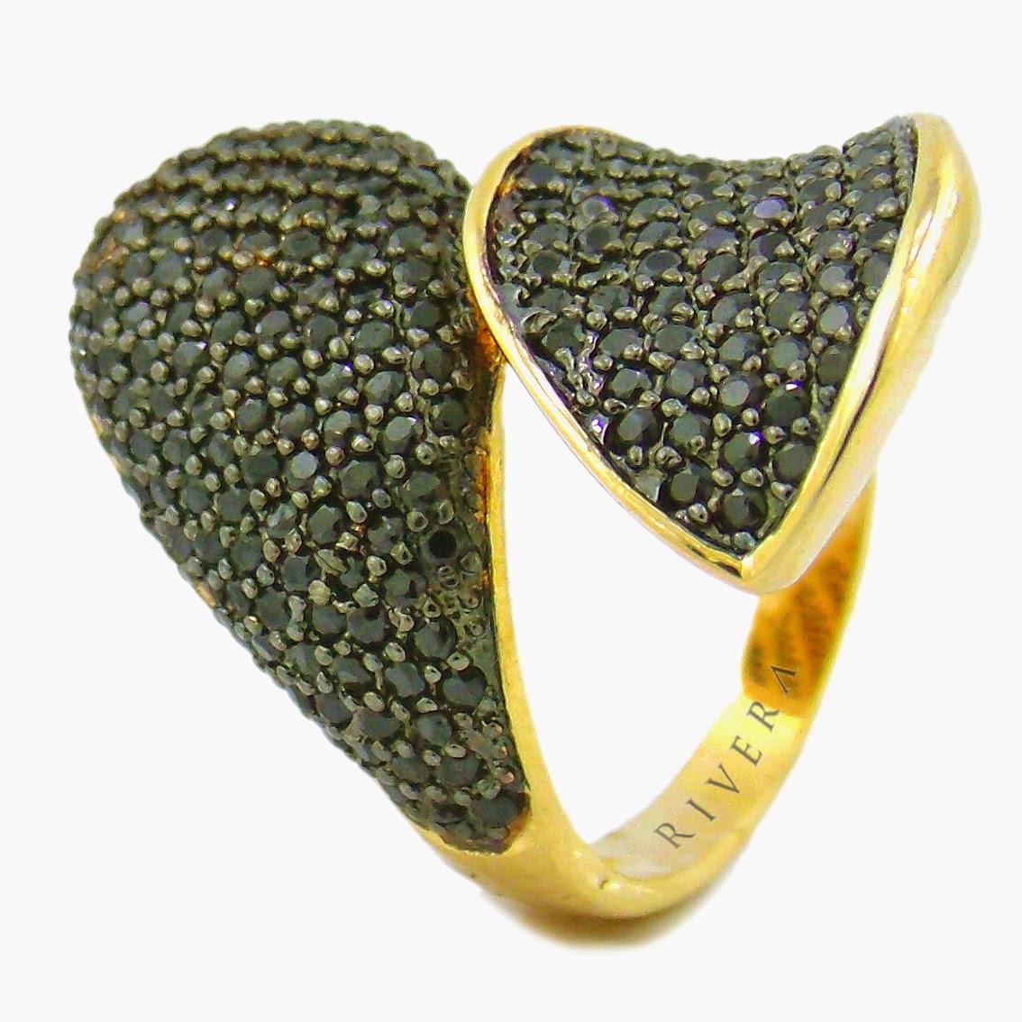 anel semi joia zirconias negras