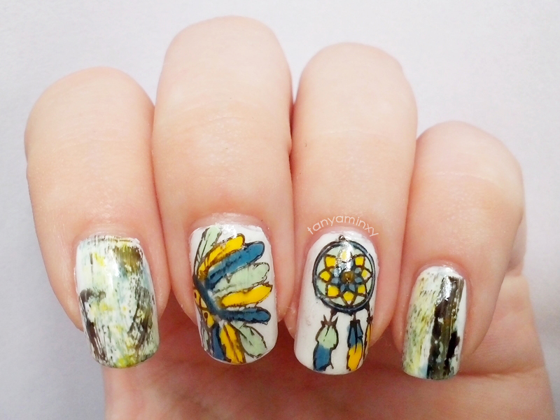31DC2014 Day 30: Inspired By A TUTORIAL - Distressed & Stamping Decals Nails