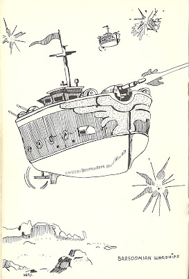 Pictures of Martian warships from Gygax and Blume's magnificent 'Warriors of Mars'