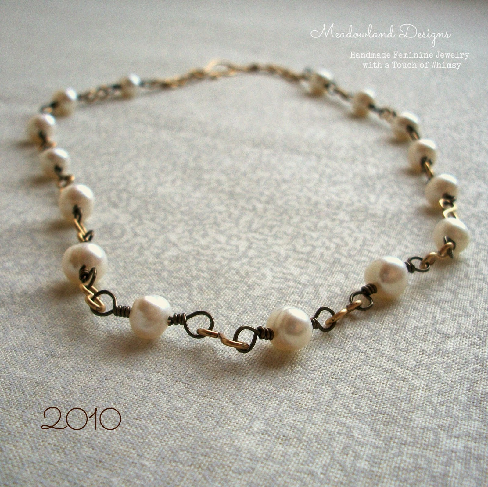 Mixed Metal Pearl Wirework Necklace, 2010