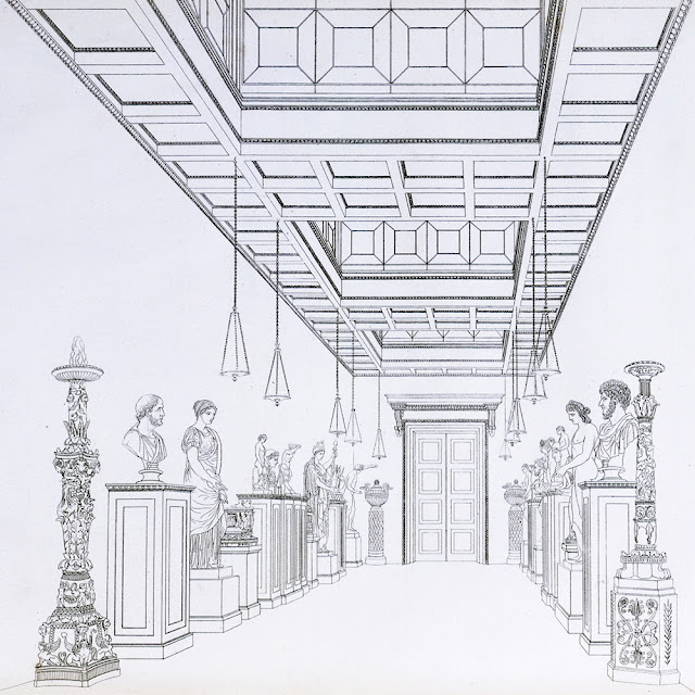 'The Statue Gallery', Plate 1, 'Household Furniture & Interior Decoration', by Thomas Hope, London, 1807