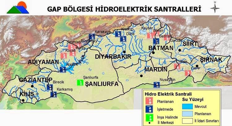 GAP B�lgesi Hidroelektrik Santralleri Haritas�