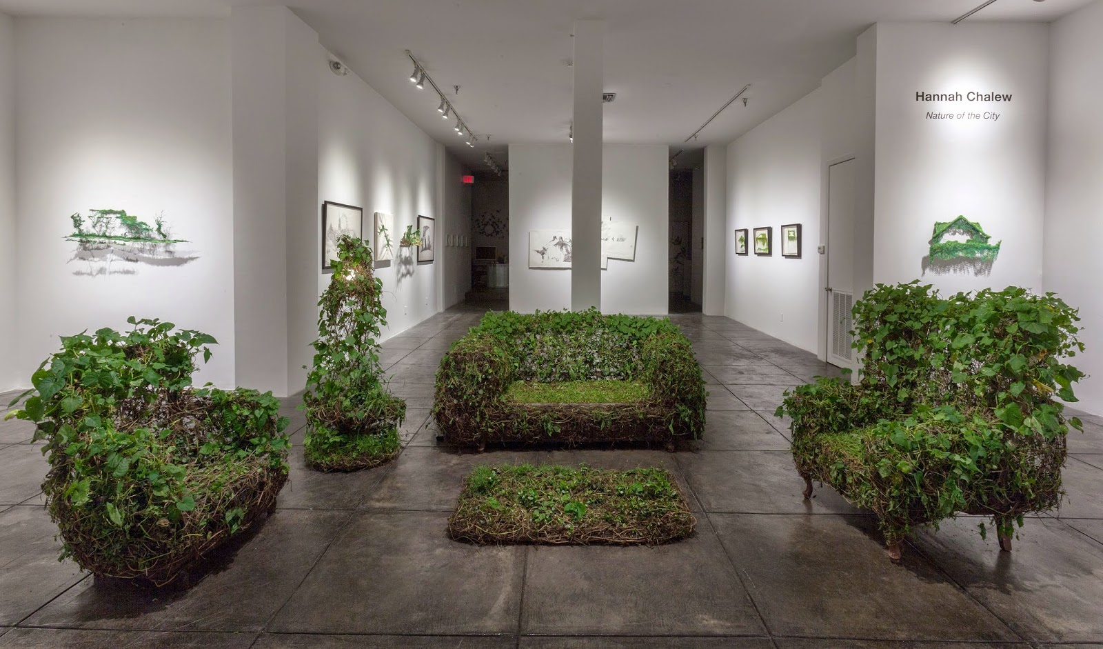 (Nature Of The City Installation View) Hannah Chalew, Living Room, 2013,  Recycled Furniture, Wire, Soil And Live Plants