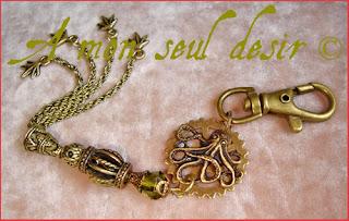Bijou sac Steampunk Pieuvre Poulpe Kraken Octopus Clocktopus jewel bag charm