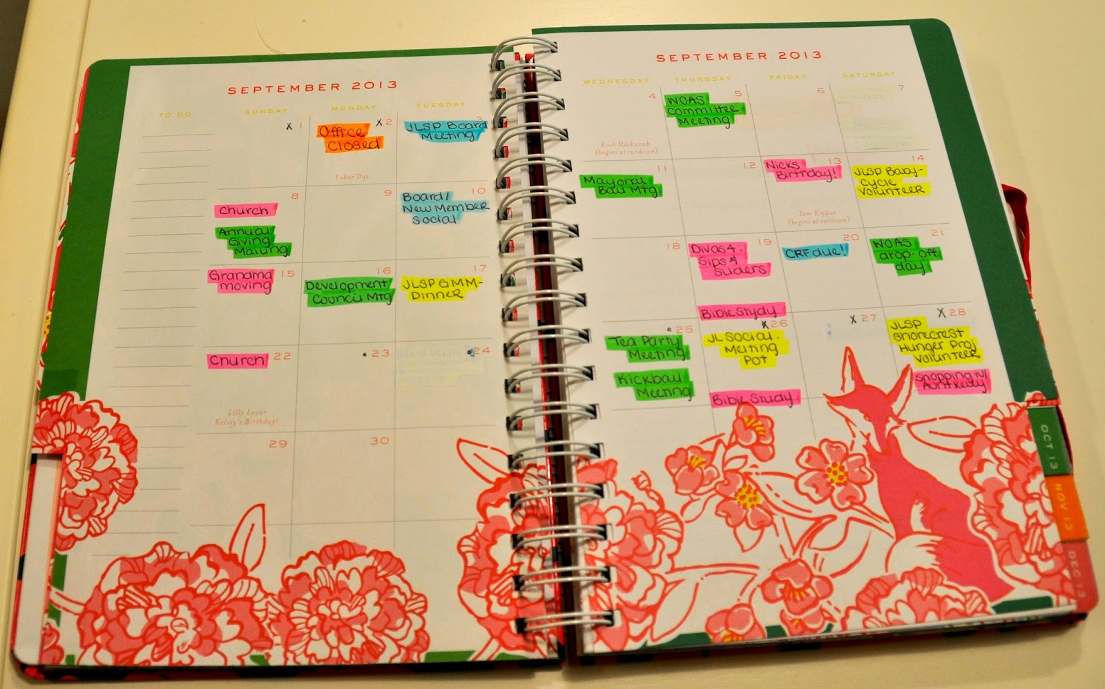 Pages color highlight - Again I Use My Color Coding System To Highlight My Events I Also Add Post Its To My Week With My To Do List