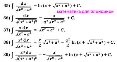 Таблица интегралов. Решение интегралов. Икс в квадрате под корнем в знаменателе дроби. Математика для блондинок.
