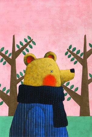 bear strolling in the woods illustration by Yusuke Yonezu