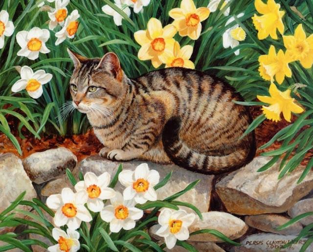 Рисунки кошек на камне