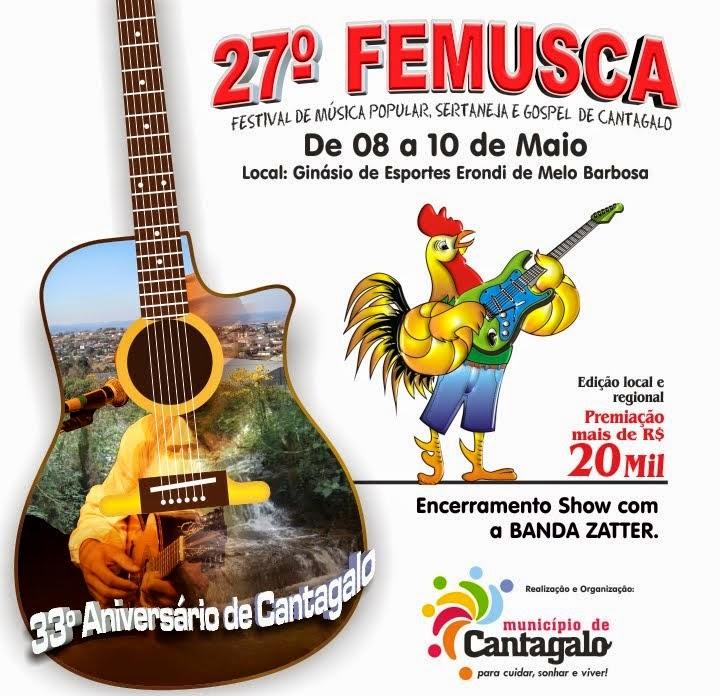 Cantagalo:Vem aí o 27º FEMUSCA -Festival de música Popular, Sertaneja e Gospel de Cantagalo