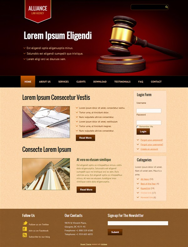 Alliance Law Agency - Free Drupal Theme