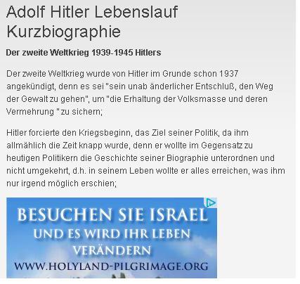 was sich googles werbung immer so denkt hab gerade in adolf hitlers lebenslauf recherchiert und dort - Hitlers Lebenslauf