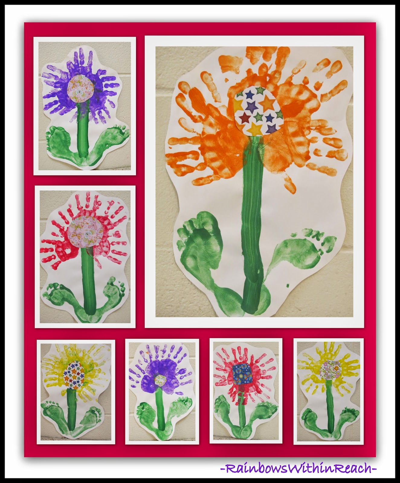 Spring Flower with Painted Hand & Foot Prints via RainbowsWithinReach RoundUP