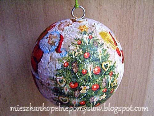 bombka decoupage, bombki, bombki styropianowe, Boże Narodzenie, dekoracje, dekoracje świąteczne, handmade, ręcznie robione, rękodzieło, zdobienie bombek,