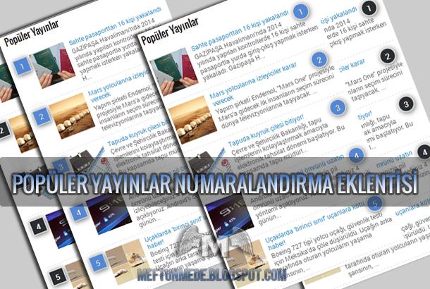 Blogger Popüler Yayınlar Otomatik Numaralandırma eklentisi