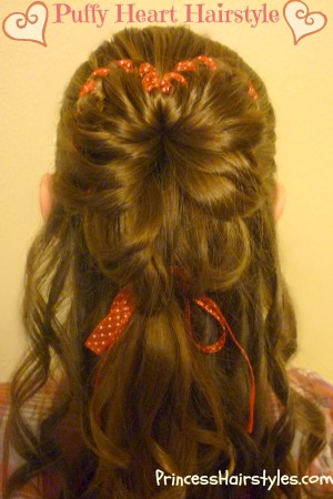 This heart shape bun hairstyle would be perfect for Valentine's Day, a ...