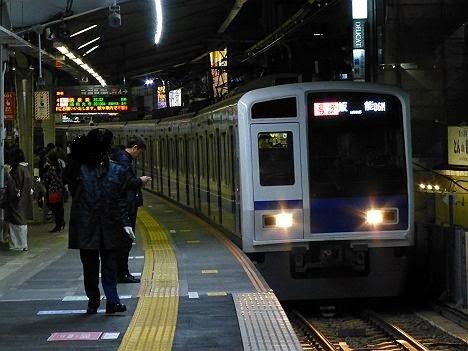 東急東横線 通勤特急 飯能行き 西武6050系