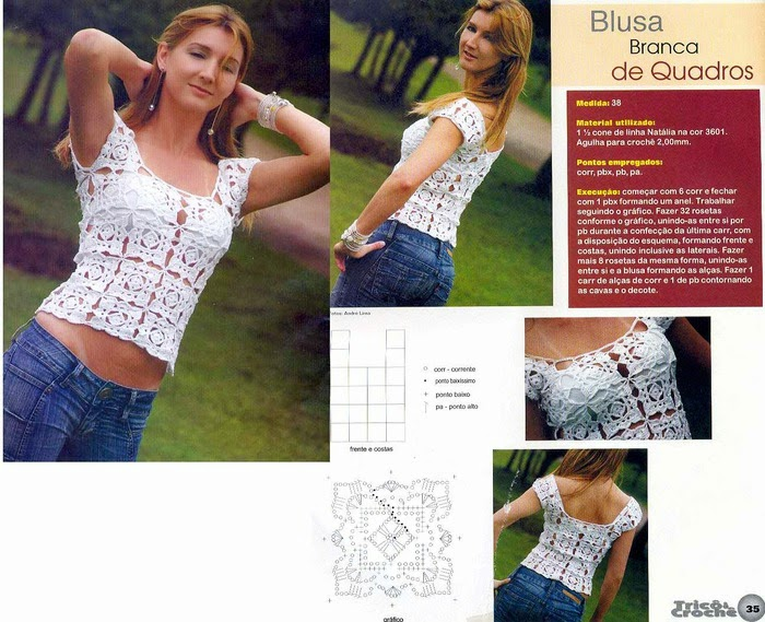 Blusa juvenil blanca crochet