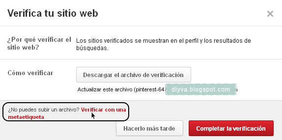 Verificar metaetiqueta Pinterest
