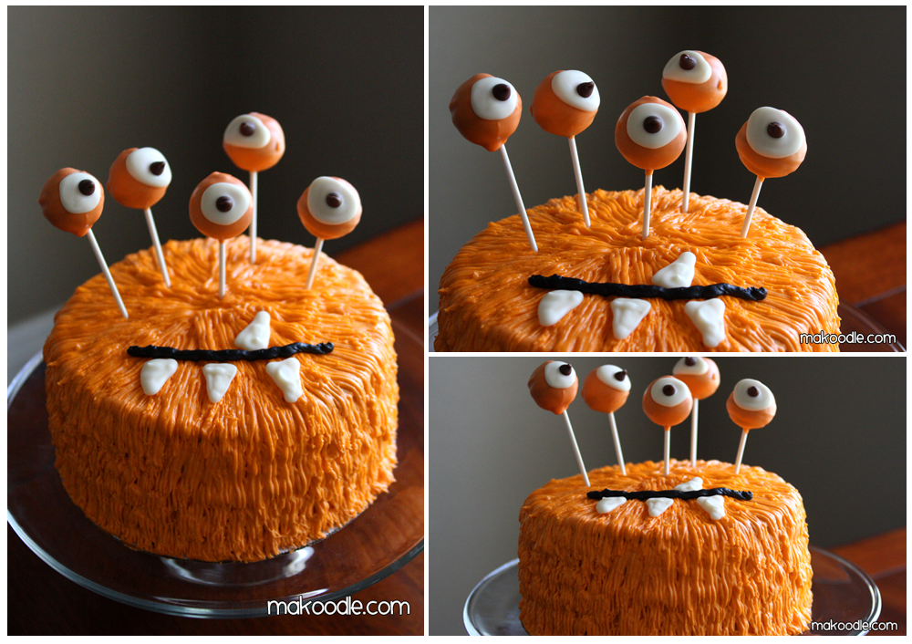 gateau orange monstre halloween