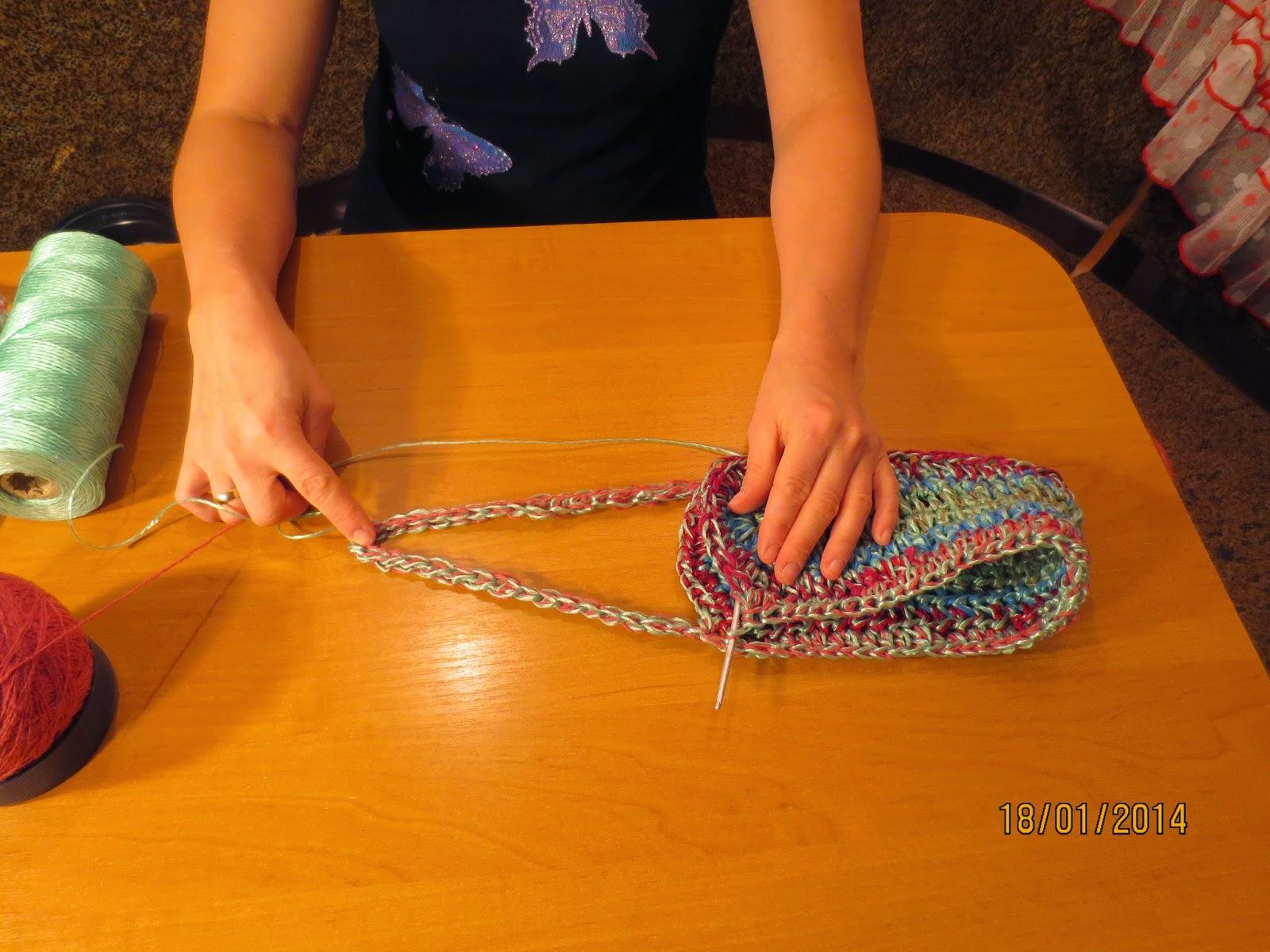 Вязание крючком ручек для мочалок