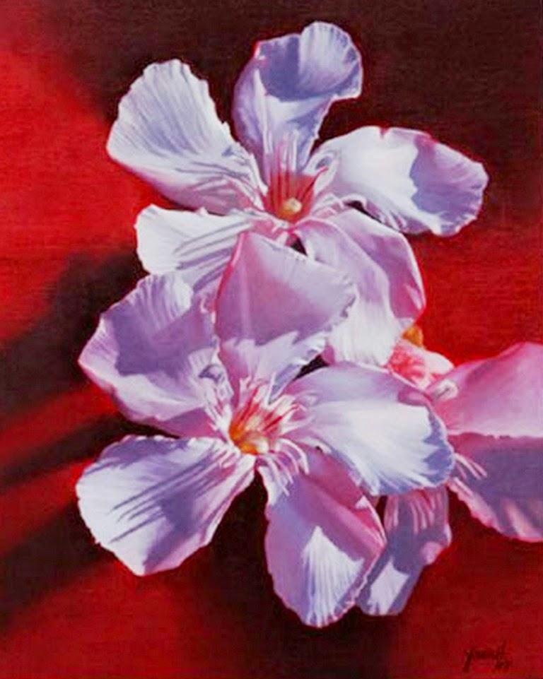 Fotos De Pinturas De Flores - Flores hechas de gotas de pinturas suspendidas en el aire