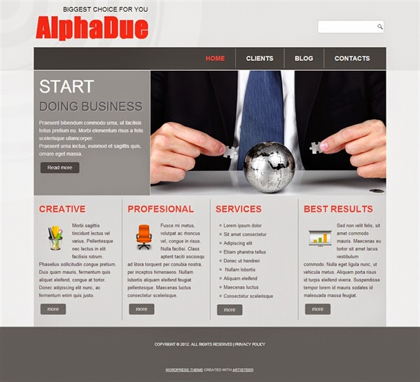 AlphaDue - Free Wordpress Theme