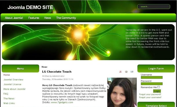 Free Abstract Green Black Joomla Theme Template