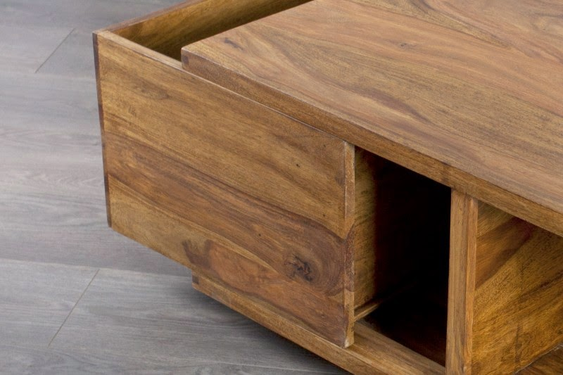 dreveny nabytok z dreva Sheesham, stolik so zasuvkou