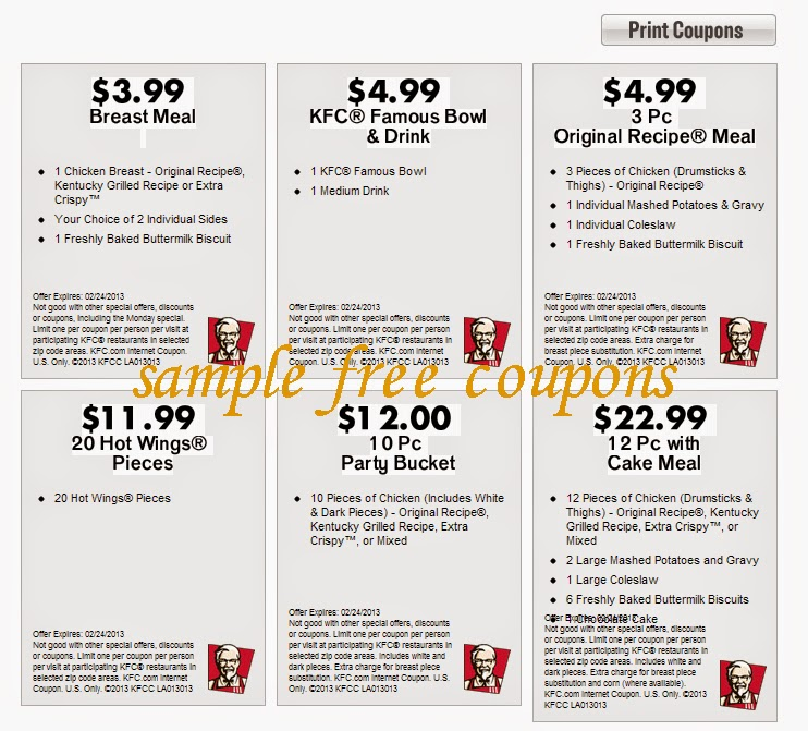 How to use a KFC coupon Join KFC's newsletter club, the Colonel's Email Club, to get great deals on all their menu items through your email. Customers are also able to use printable coupons that are available on their website just by entering their first name, last name, zip code and email address.