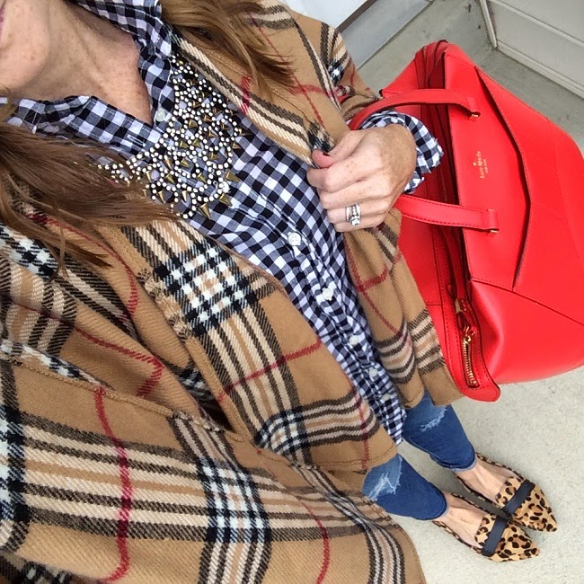 jcrew factory plaid shirt, kate spade beau bag, steve maden leopard flats, baublebar necklace