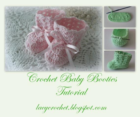 Crochet Tutorial For Baby Booties : Lacy Crochet: Crochet Baby Booties Tutorial