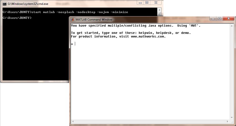 start matlab -nosplash -nodesktop -nojvm -minimize