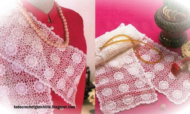 patrones crochet continuo para camino de mesa y chalina