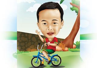 karikatur anak naik sepeda