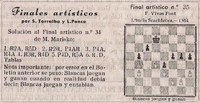 Final publicado por Torralba y Ponce en el Boletín del Club Ajedrez Barcelona