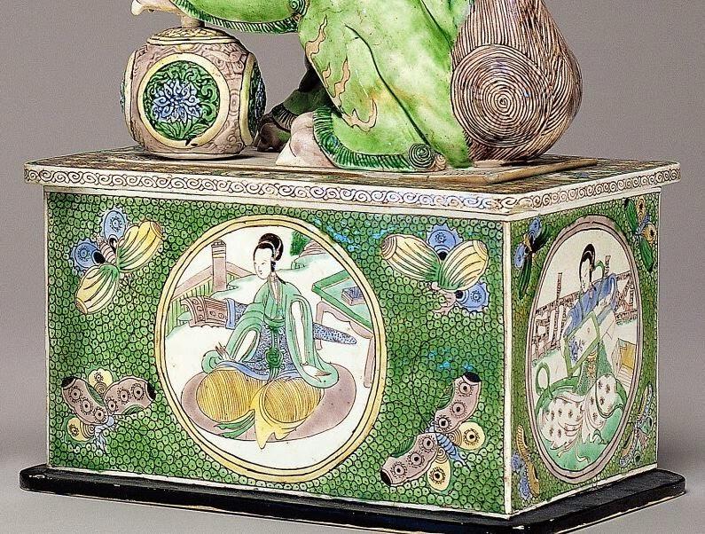 "<img src=""Detail Kangxi Porcelain Foo Lion .jpg"" alt="" Famille Verte on Biscuit"">"