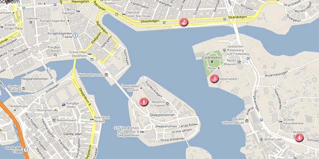Mapa de la ruta dia 2 por Estocolmo