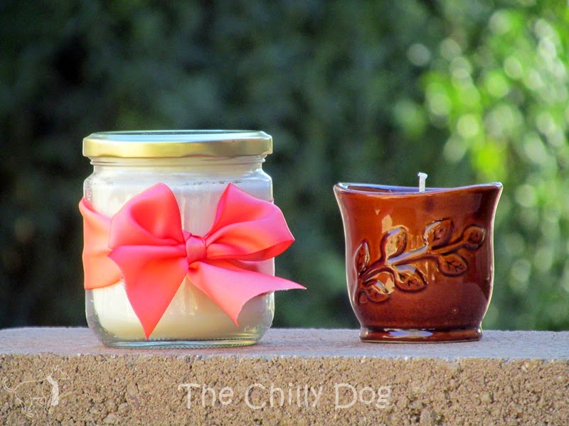 Learn how to repurpose small glass and ceramic containers to create scented soy candles.