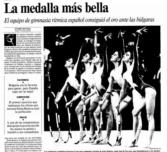 La noticia del oro de las gimnastas españolas en Atlanta 1996 en La Vanguardia