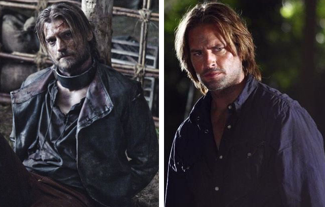 Josh Holloway as Sawyer in Lost and Nikolaj Coster Waldau in Game of Thrones, look alike, side by side comparison, celebrity doppelganger, male actors, hunks, good looking male actor, heart throb