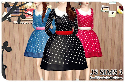 Small Polka-Dotted Dress by JS Sims 3 01