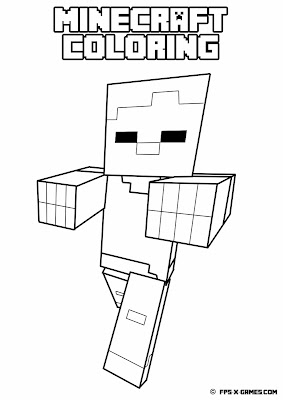 Printable Minecraft coloring - Zombie