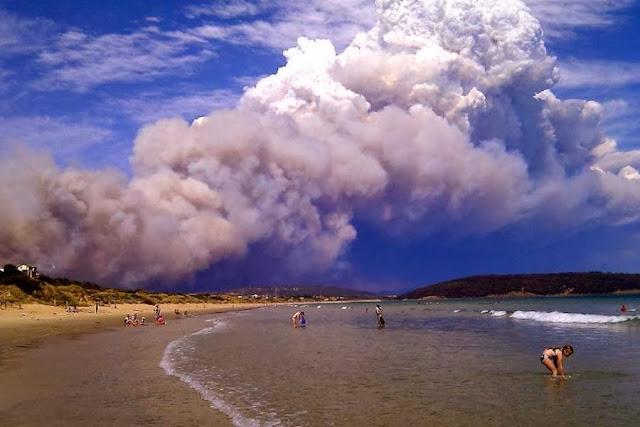Пожары в Австралии  Катастрофа и безмятежные купающиеся люди. Фото вызвало неоднозначную реакцию