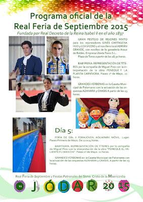 PROGRAMA DE LA FERIA DE JÓDAR 2015 - DÍAS 1 AL 5 DE SEPTIEMBRE