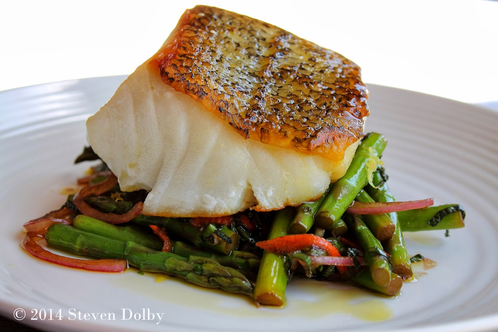 Steve's Cooking: Pan-Roasted Sea Bass served with Asparagus and Mint ...