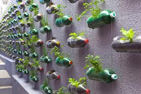 como fazer uma horta vertical com garrafas PET