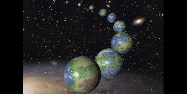 This is an artist's impression of innumerable Earth-like planets that have yet to be born over the next trillion years in the evolving universe. Credits: NASA, ESA, and G. Bacon (STScI)