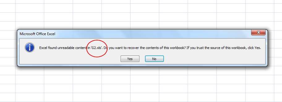 MS Excel Read Error