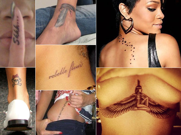 See more Feather,ink,skull,and star tattoo on Rihanna body